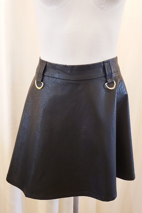Vintage-Inspired Faux Leather Mini Skirt