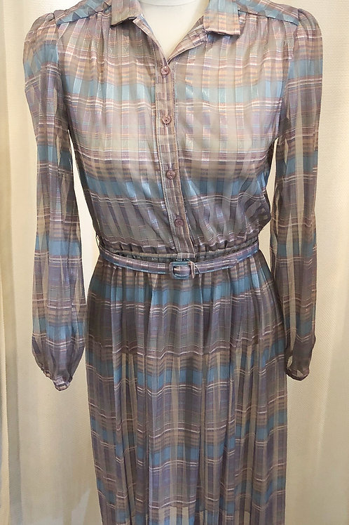 Vintage Sheer Purple Plaid Dress