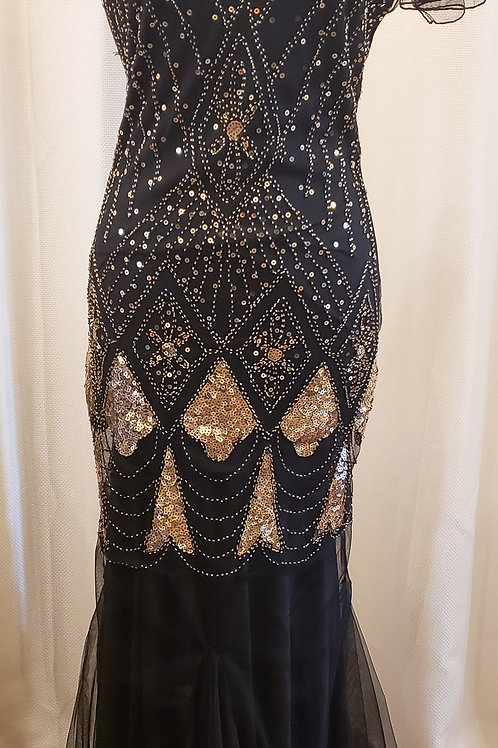 Vintage-Inspired Black and Gold Sequin Floor-length Dress