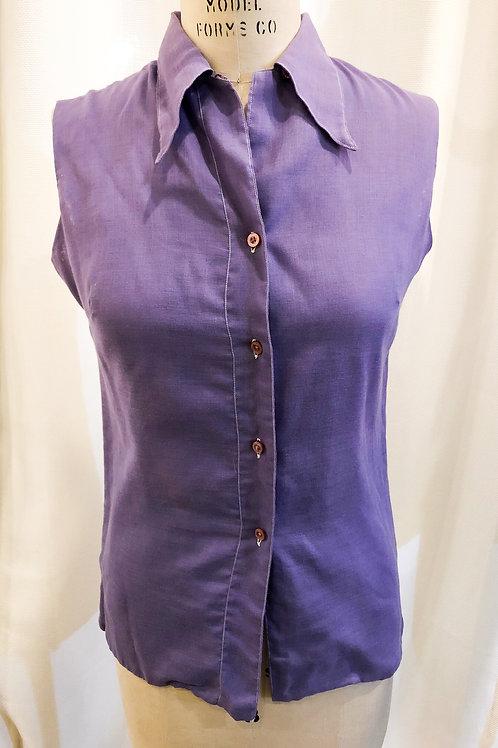 Vintage Purple Activair Sleeveless Button Up