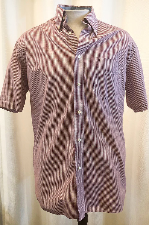 Vintage Burgundy and White Gingham Tommy Hilfiger Button Down Top