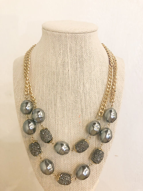 Vintage Gold and Pewter Beaded Necklace