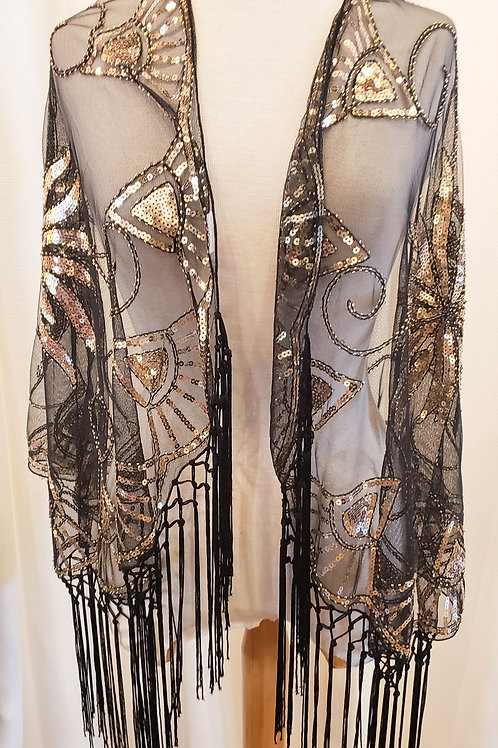 Vintage-Inspired Black and Gold Sequin Shawl with Fringe