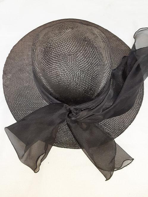 Vintage Black Wide-Brimmed Hat with Bow