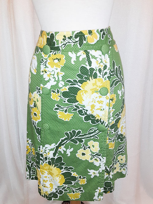 Vintage Green and Yellow Floral Talbots Skirt