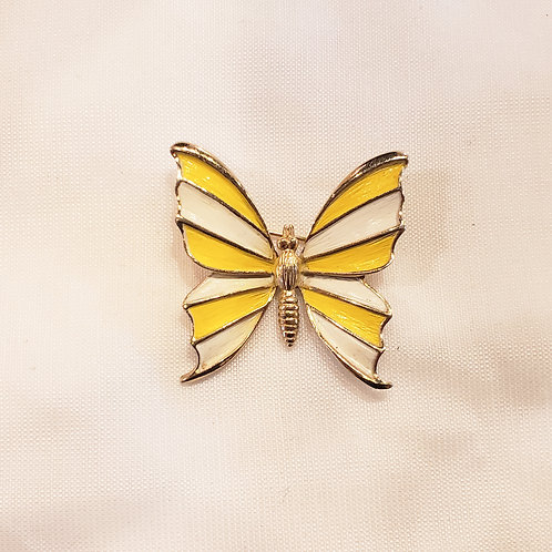 Vintage White and Yellow Butterfly Brooch
