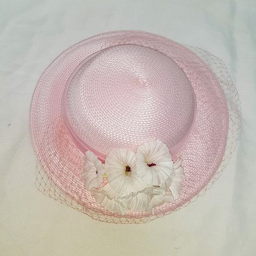 Vintage Pink Sylvia Hat with Flowers and Net Veil