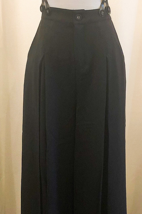 Vintage-Inspired Black Wide-Leg Trousers with Suspenders