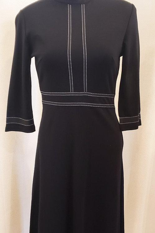 Vintage-Inspired Black Dress with Trim