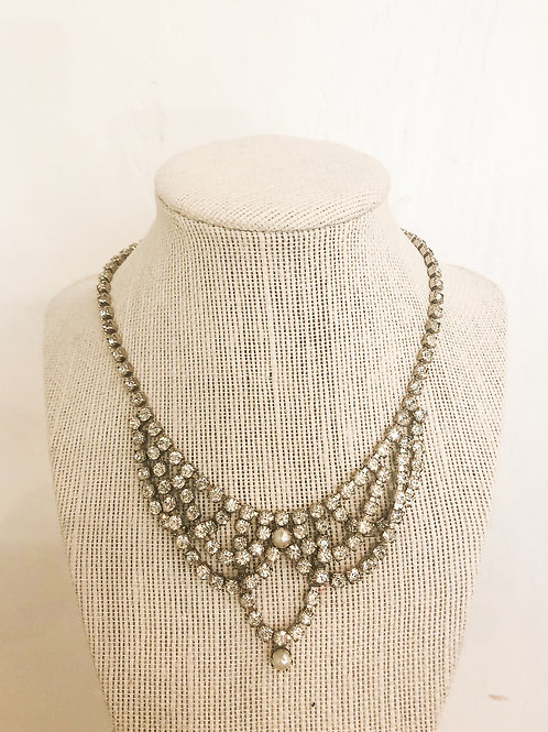 Vintage Rhinestone and Pearl Bib Necklace