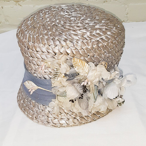 Vintage Woven Hat with Flowers