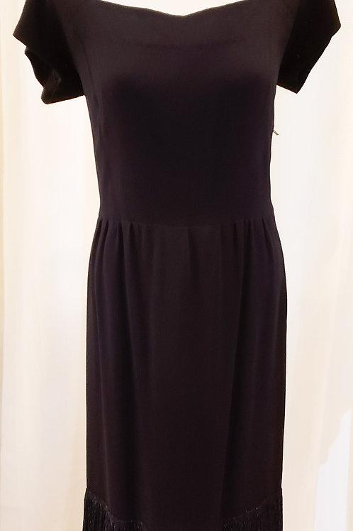 Vintage Black Dress with Beaded Trim