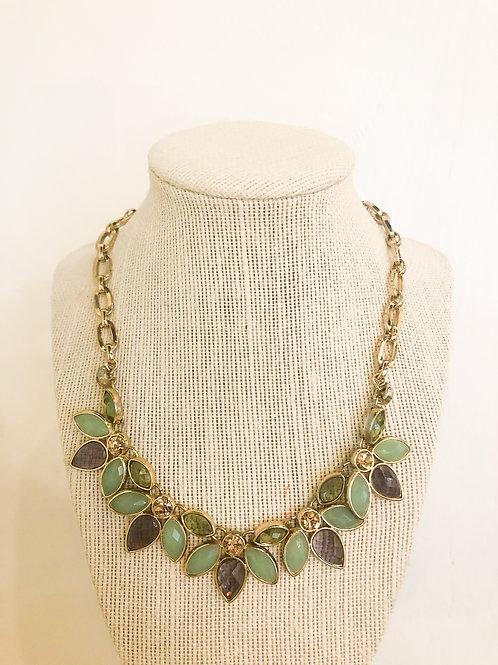 Vintage Green and Purple Leaf Necklace