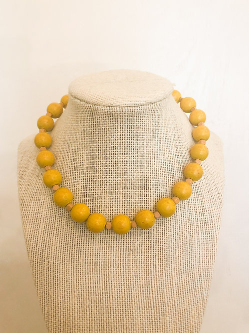 Vintage Wooden Yellow Choker