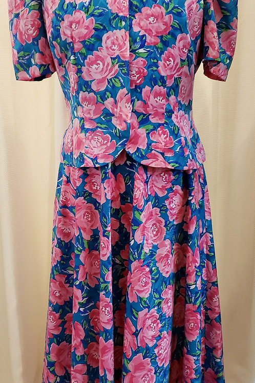 Vintage Pink Floral Two-Piece Papell Boutique Set