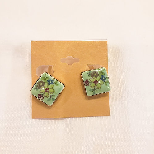 Vintage Green Floral Clip-On Earrings