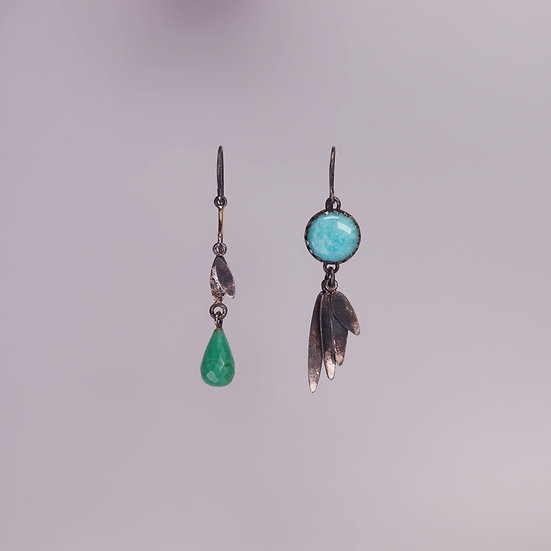 Black silver chrysoprase and amazonite earrings