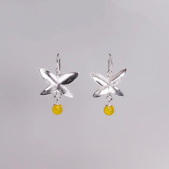 Silver Yellow agate earrings