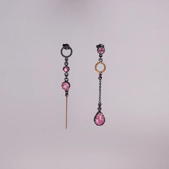 Black Silver Chatel Earrings