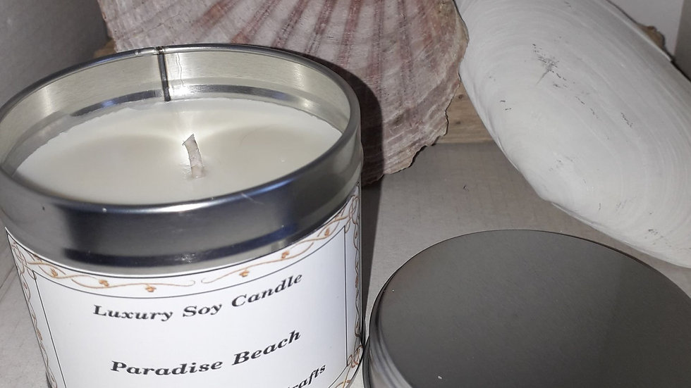 Silver.  Candle tin  PARADISE BEACH   SOLD OUT
