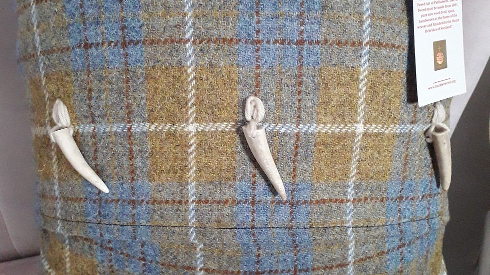 Harris Tweed cushion with antler