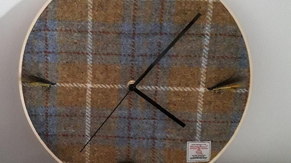 Stunning Harris Tweed clock with salmon flies