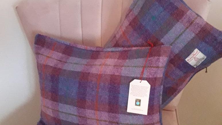 Harris Tweed cushion in blue/purple