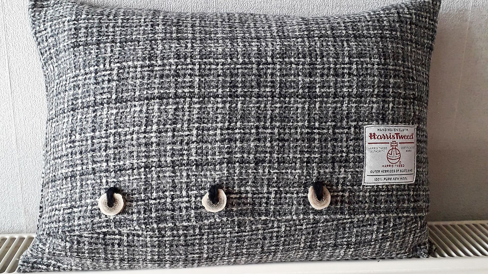 Gorgeous statement cushion.  Grey / Black Harris Tweed