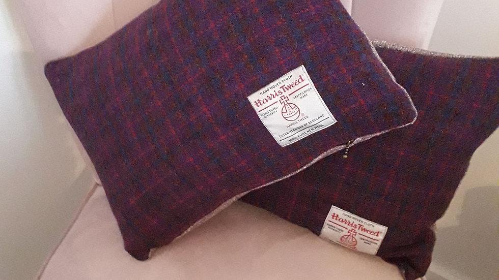 Harris Tweed purple cushions