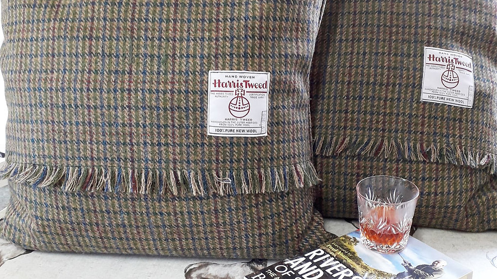 Fringed Harris Tweed cushions