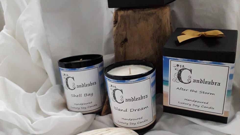 Beach themed luxury candles
