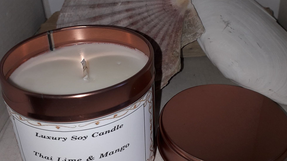 Copper.  Candle tin THAI LIME & MANGO   SOLD OUT