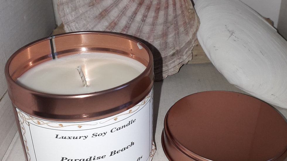 Copper.    Candle tin  PARADISE BEACH   SOLD OUT