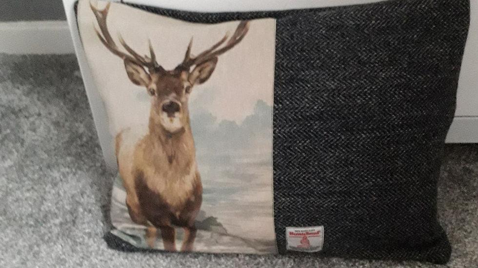 Handsome Stag.  Harris Tweed cushion