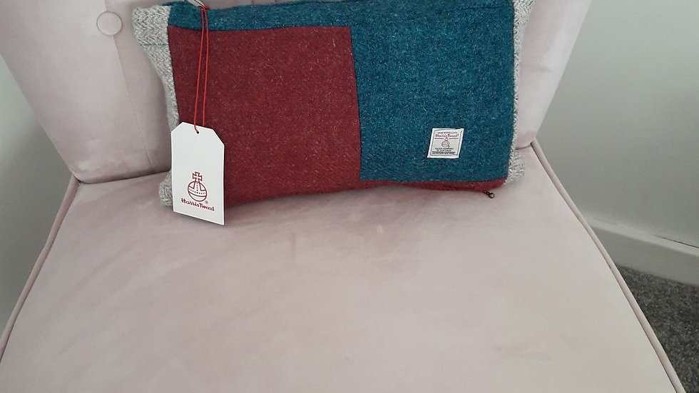 Small Harris Tweed cushion with pad  14 x 10 inch