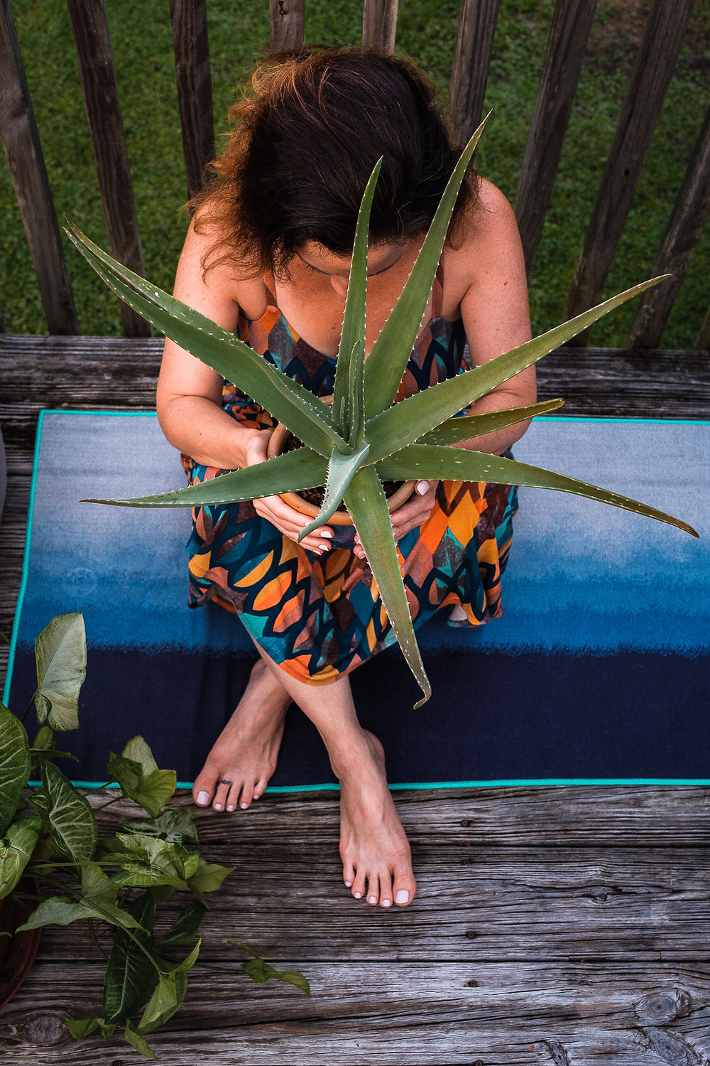 Woman holding potted aloe plant to demonstrate health and wellness and self care for personal brand photography