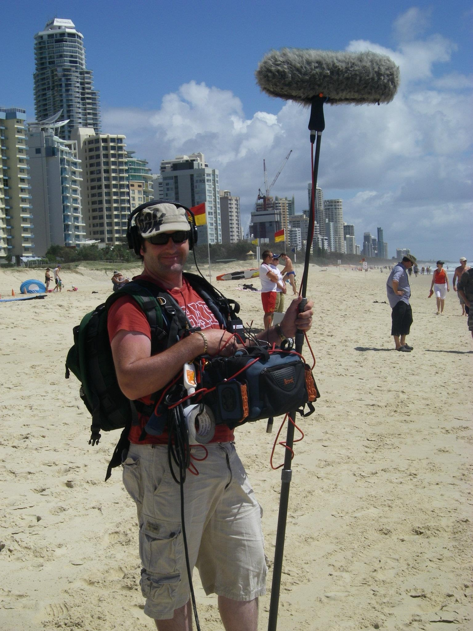 freelance sound recodist marty fay location gold coast beach queensland australi