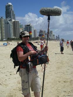 freelance sound recodist marty fay location gold coast beach queensland australi