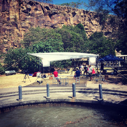 Hosting location with Brisbane city and river backdrop freelance sound recordist