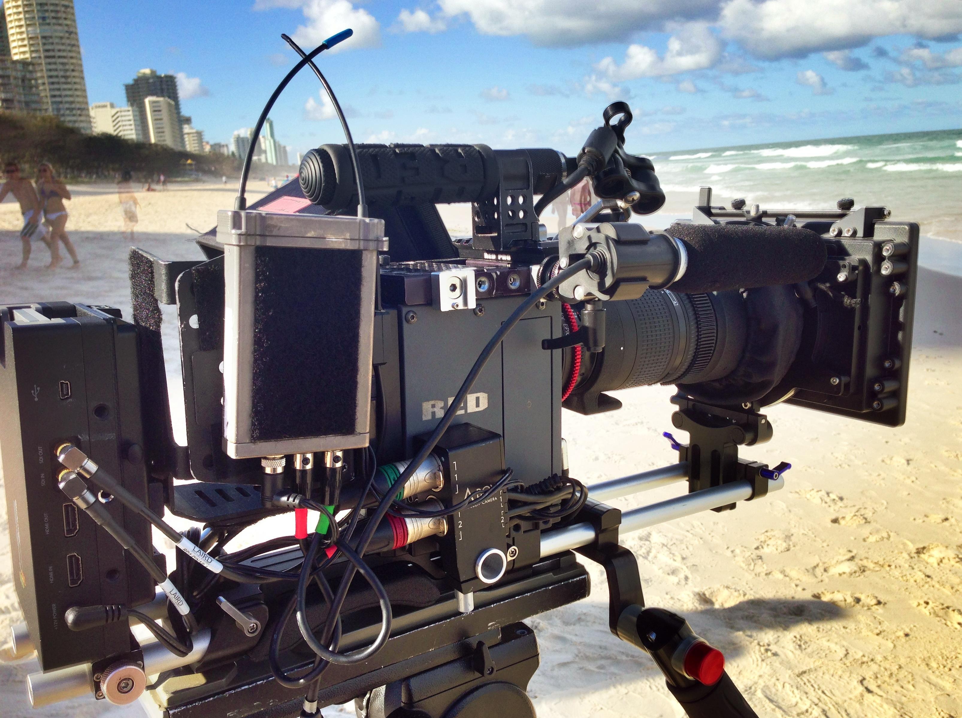 red epic dragon camera freelance cameraman shoot beach tvc sound recordist marty