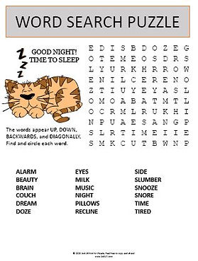 Time to Sleep Word Search