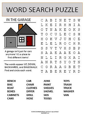 In The Garage Word Search