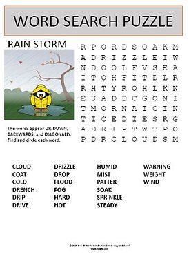 Rain Storm Word Search