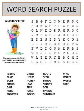 Garden Time Word Search