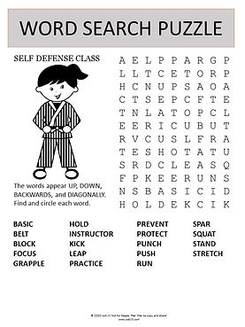 Self Defense word search