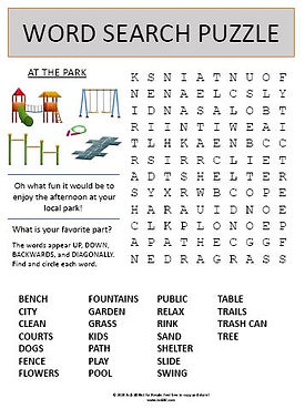 At the Local Park Word Search