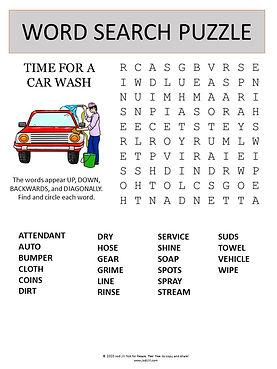 Car Wash word search