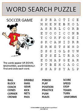 Soccer Game Word Search