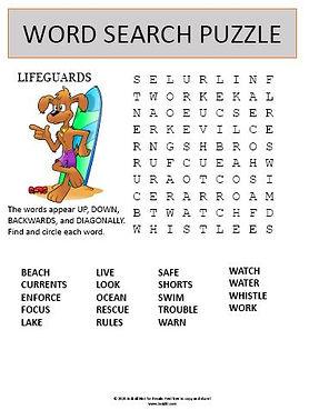 Lifeguard Word Search