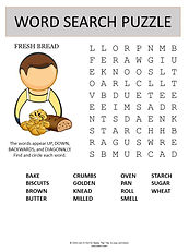 Fresh bread word search puzzle for kids.